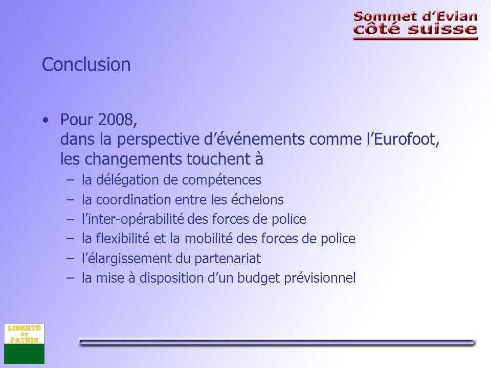 Conclusion Pour 2008, dans la perspective dévénements comme lEurofoot, les changements touchent à –la délégation de compétences –la coordination entre les échelons –linter-opérabilité des forces de police –la flexibilité et la mobilité des forces de police –lélargissement du partenariat –la mise à disposition dun budget prévisionnel