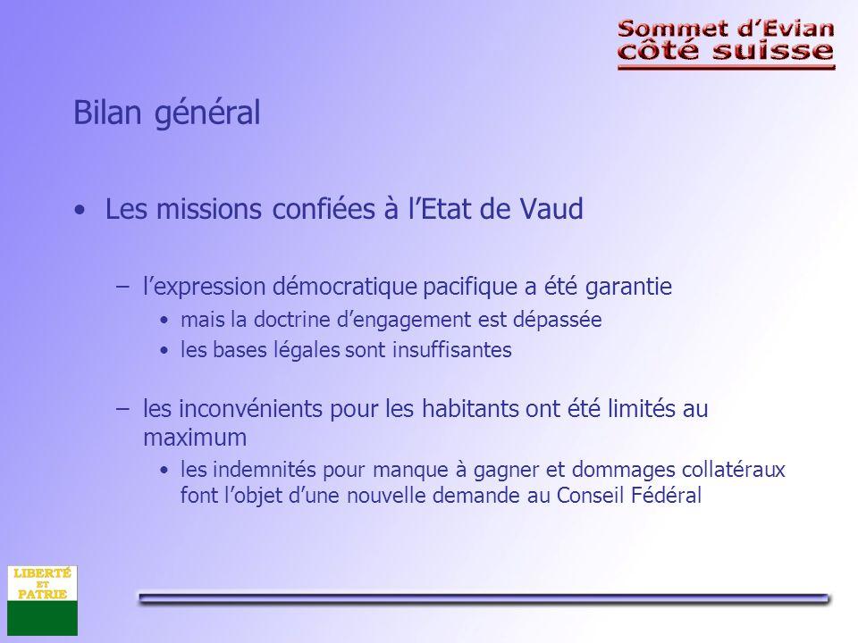 Bilan financier pour le canton de Vaud Tableau des coûts par domaine et situation en octobre 2003