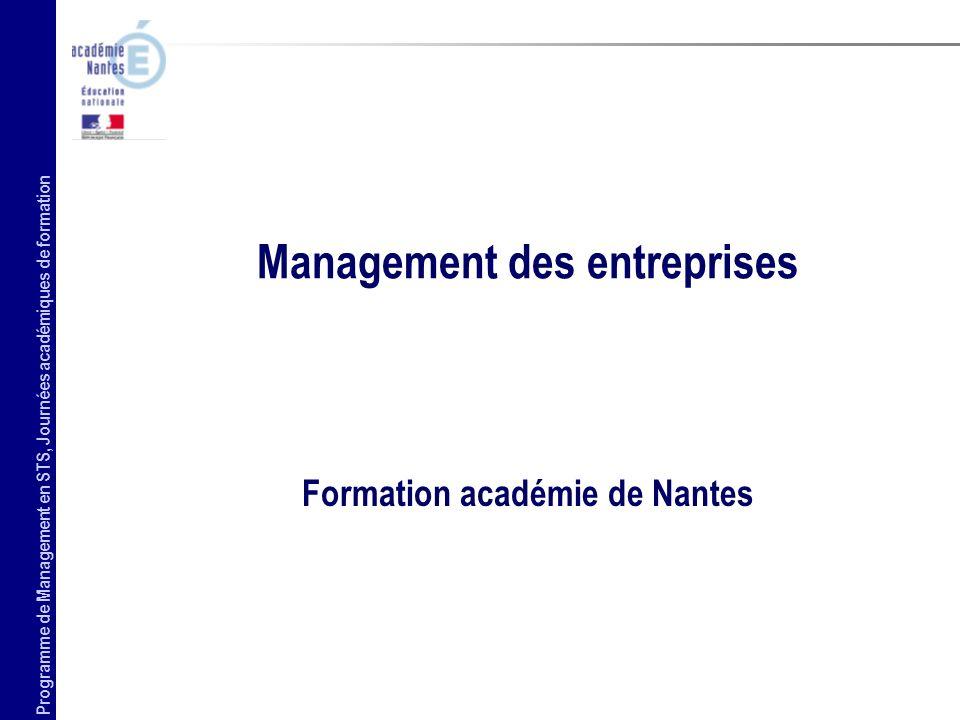 Programme de Management en STS, journées académiques de formation 2 une culture commune dans le domaine de la direction et du pilotage de lentreprise.
