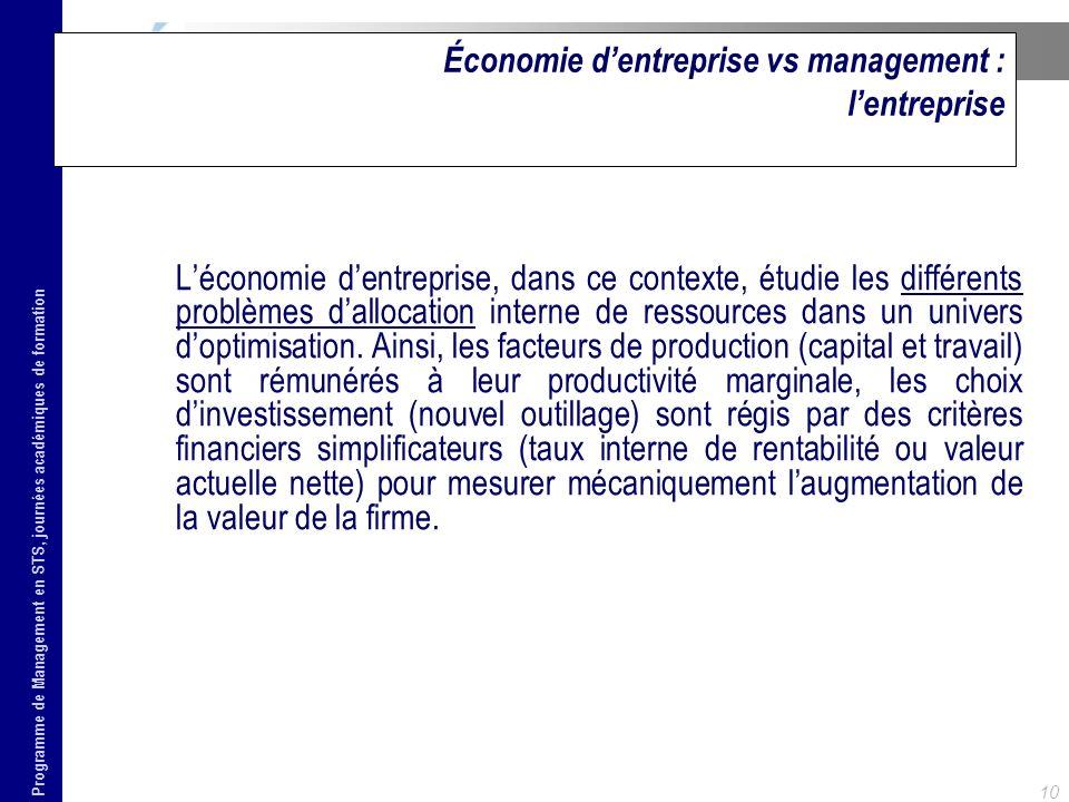 Programme de Management en STS, journées académiques de formation 10 Économie dentreprise vs management : lentreprise Léconomie dentreprise, dans ce c