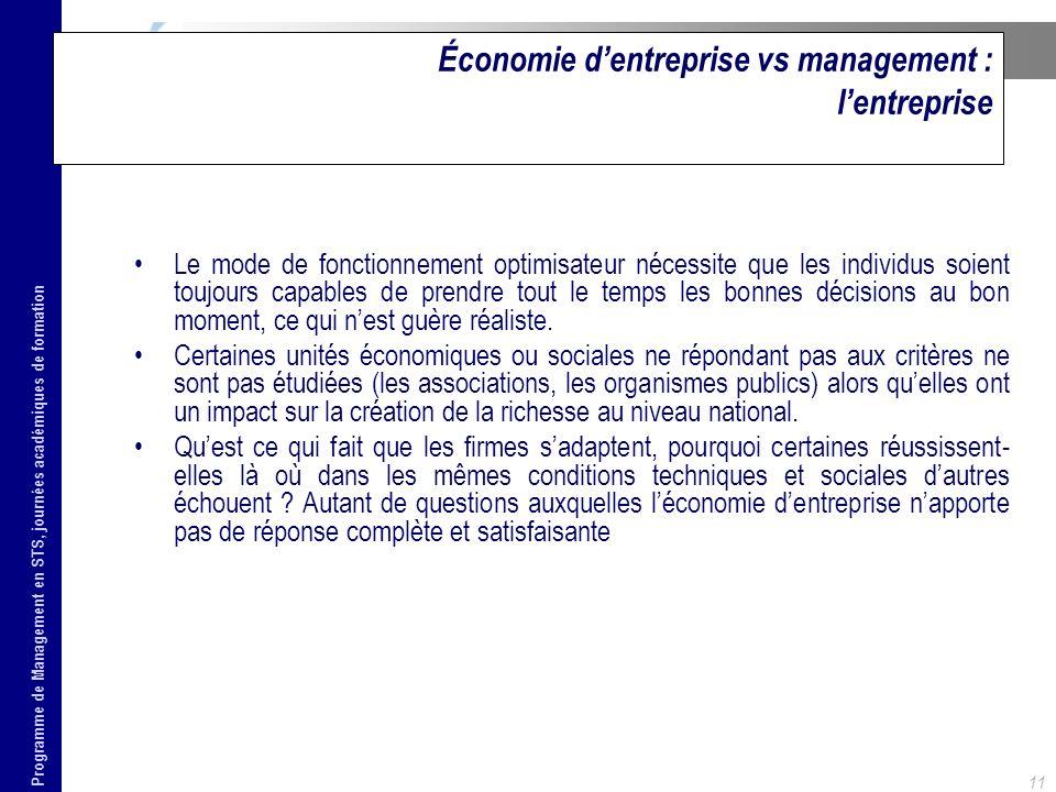 Programme de Management en STS, journées académiques de formation 12 Économie dentreprise vs management : le management - Le management est ainsi à la fois la cause des échecs et des succès de la firme.