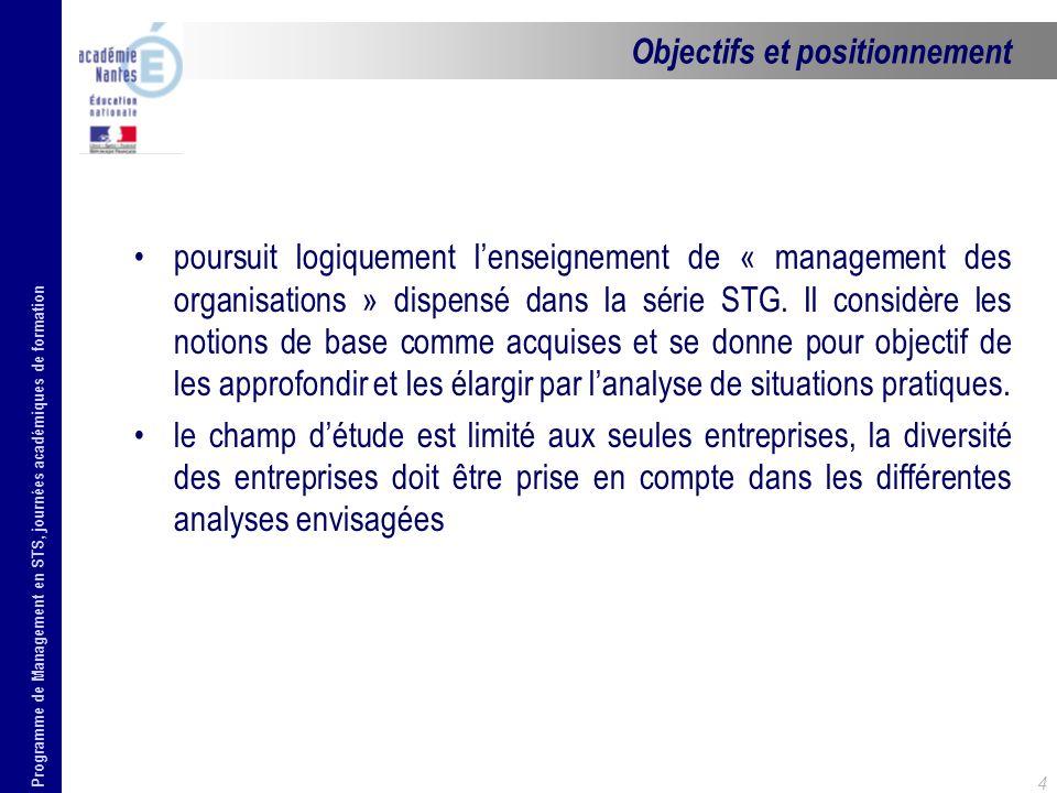Programme de Management en STS, journées académiques de formation 4 poursuit logiquement lenseignement de « management des organisations » dispensé da