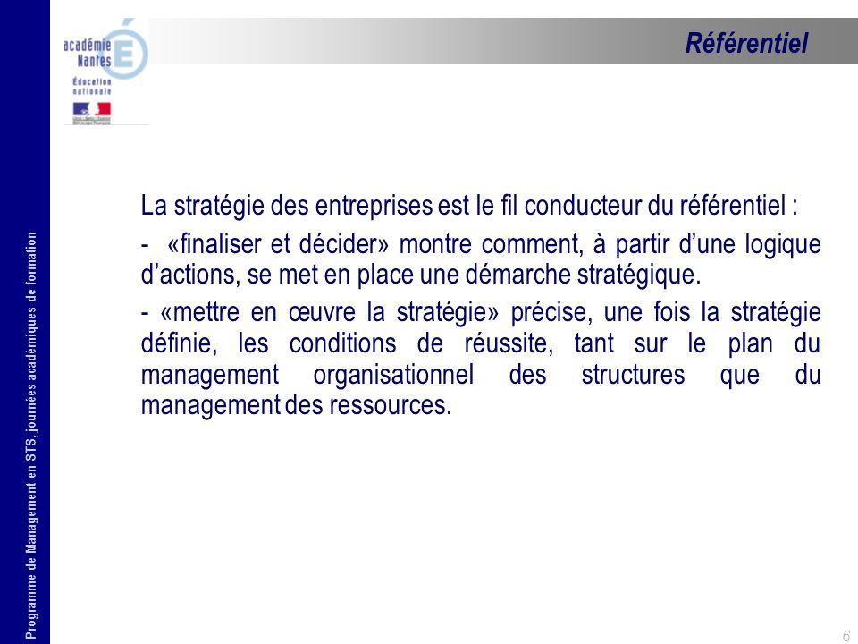 Programme de Management en STS, journées académiques de formation 6 La stratégie des entreprises est le fil conducteur du référentiel : - «finaliser e