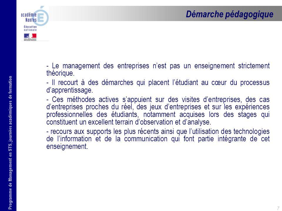 Programme de Management en STS, journées académiques de formation 7 - Le management des entreprises nest pas un enseignement strictement théorique. -