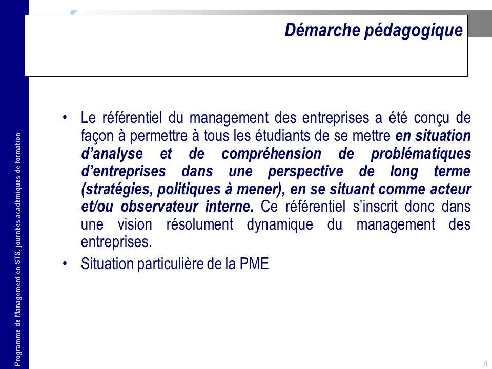Programme de Management en STS, journées académiques de formation 8 Démarche pédagogique Le référentiel du management des entreprises a été conçu de f