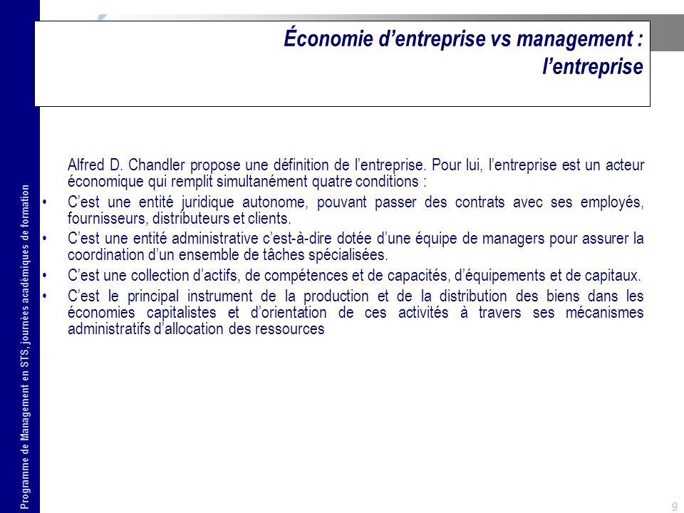 Programme de Management en STS, journées académiques de formation 9 Économie dentreprise vs management : lentreprise Alfred D. Chandler propose une dé