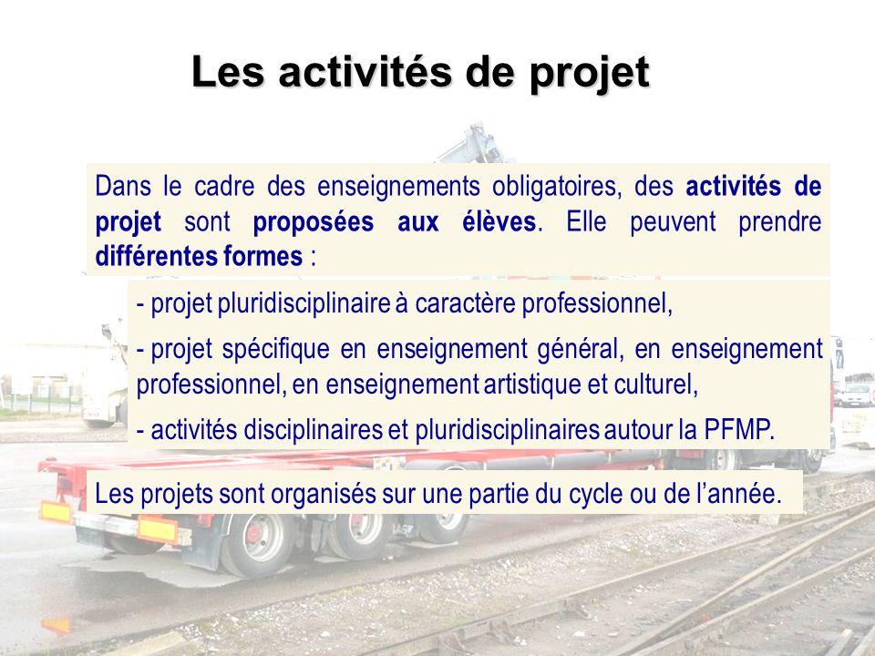 Dans le cadre des enseignements obligatoires, des activités de projet sont proposées aux élèves. Elle peuvent prendre différentes formes : - projet pl