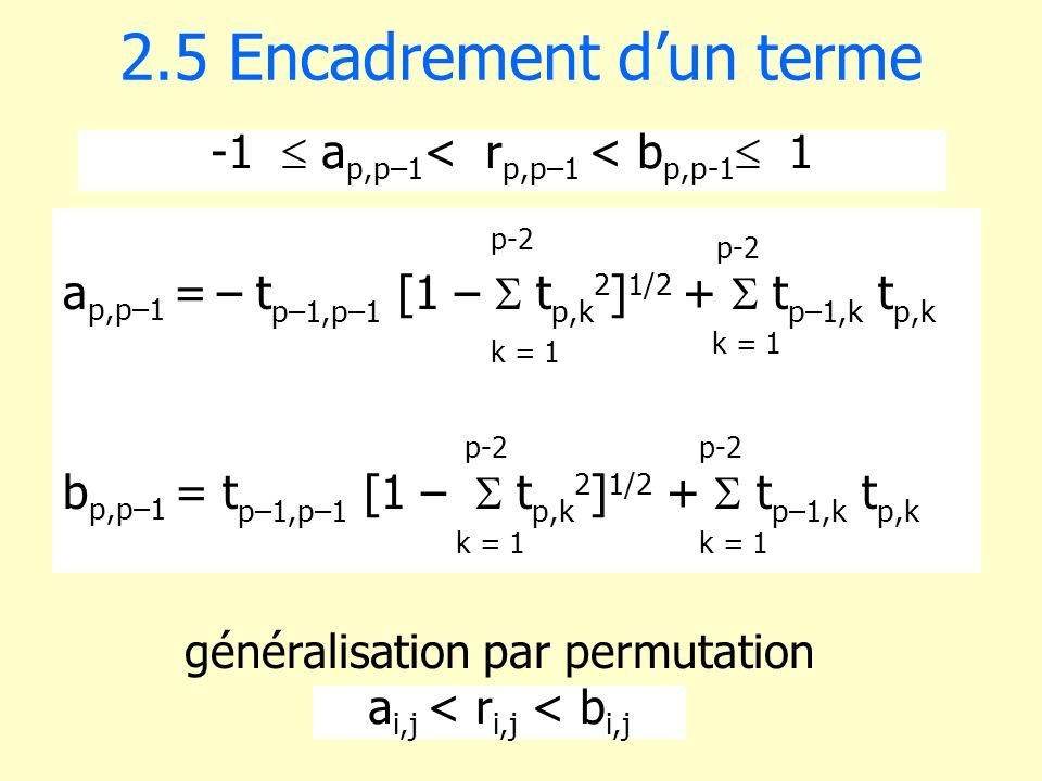 -1 a p,p–1 < r p,p–1 < b p,p-1 1 2.5 Encadrement dun terme a p,p–1 = – t p–1,p–1 [1 – t p,k 2 ] 1/2 + t p–1,k t p,k b p,p–1 = t p–1,p–1 [1 – t p,k 2 ]