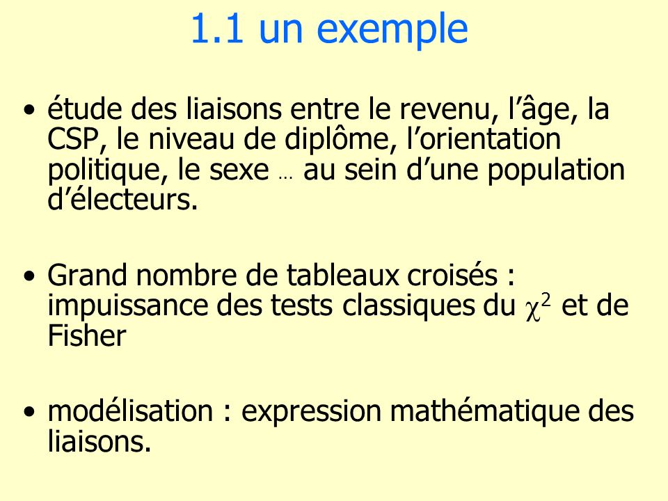 2.6 Exemple numérique X 1 X 2 X 3 X 4 X 1 1 X 2 0.51 X 3 0.50.51 X 4 -0.50.40.31 r 1,2 ] -0.3697771, 0.5126343 [ r 4,4 ].98, + [R 4 2 = 0.98