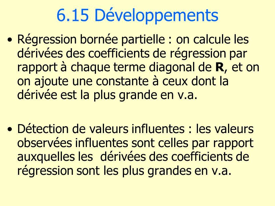 6.15 Développements Régression bornée partielle : on calcule les dérivées des coefficients de régression par rapport à chaque terme diagonal de R, et