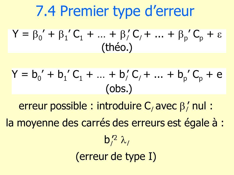7.4 Premier type derreur Y = 0 + 1 C 1 + … + l C l +... + p C p + (théo.) erreur possible : introduire C l avec l nul : la moyenne des carrés des erre