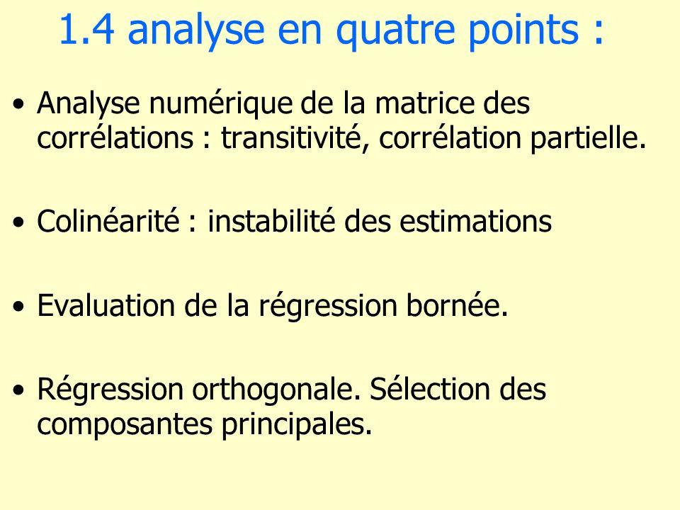 1.4 analyse en quatre points : Analyse numérique de la matrice des corrélations : transitivité, corrélation partielle. Colinéarité : instabilité des e
