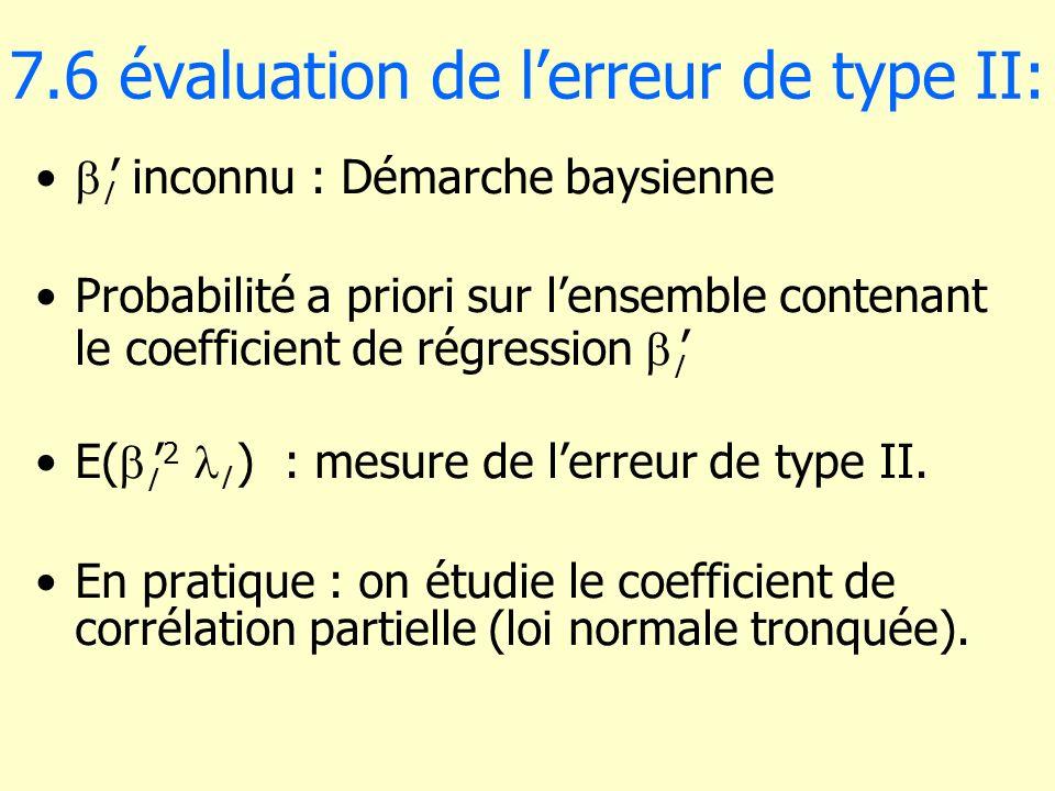 7.6 évaluation de lerreur de type II: l inconnu : Démarche baysienne Probabilité a priori sur lensemble contenant le coefficient de régression l E( l