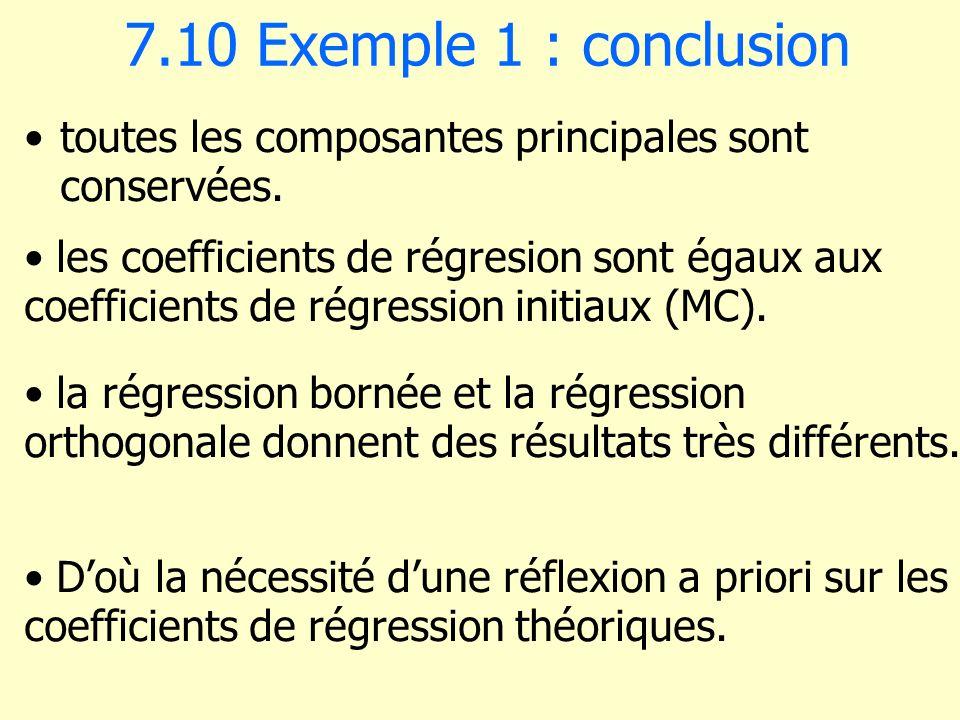 7.10 Exemple 1 : conclusion toutes les composantes principales sont conservées. les coefficients de régresion sont égaux aux coefficients de régressio