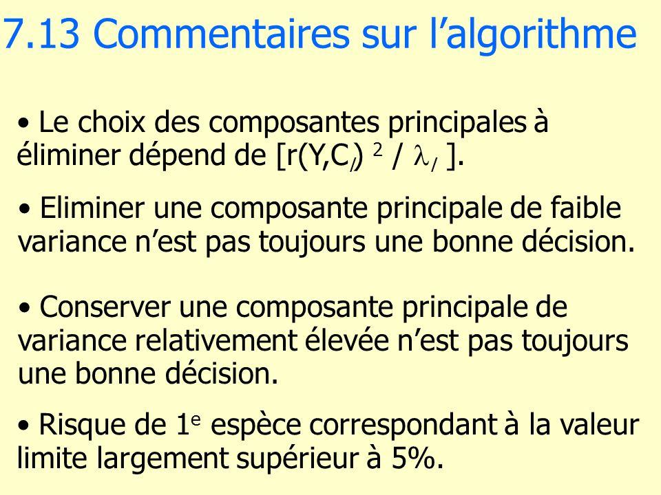 7.13 Commentaires sur lalgorithme Eliminer une composante principale de faible variance nest pas toujours une bonne décision. Le choix des composantes