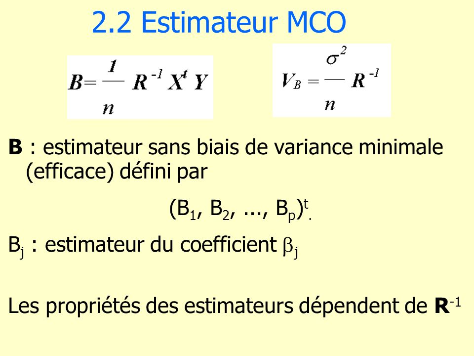 6.1 Estimateur biaisé dun paramètre E[(X – ) 2 ] = V(X) + [E(X) – ] 2 E[(X – ) 2 ] = V(X) > E[(X – ) 2 ]