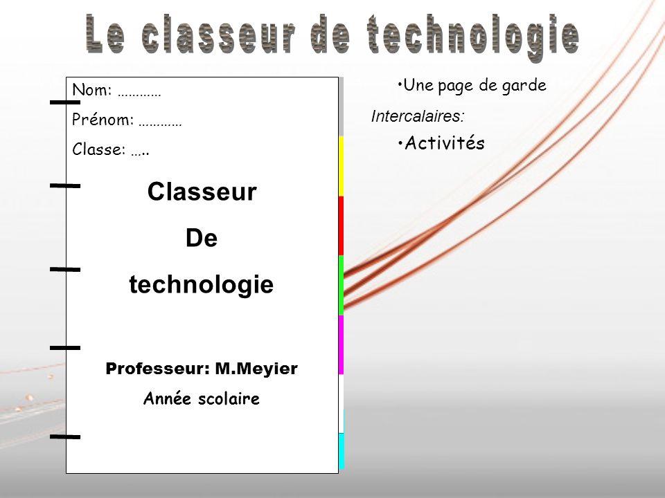 Activités Une page de garde Intercalaires: Activités Nom: ………… Prénom: ………… Classe: …..