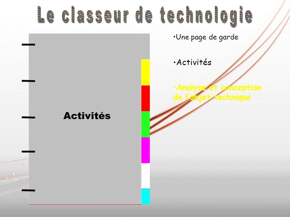 Analyse et conception des objets techniques Une page de garde Activités Analyse et conception de lobjet technique Activités