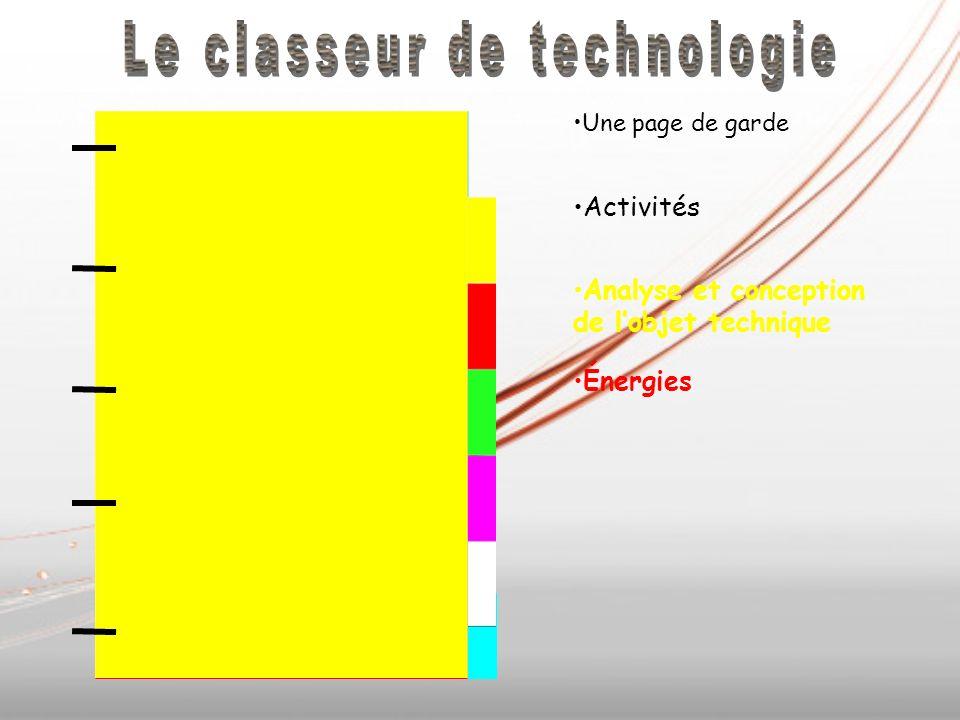 Énergies Une page de garde Activités Analyse et conception de lobjet technique Énergies