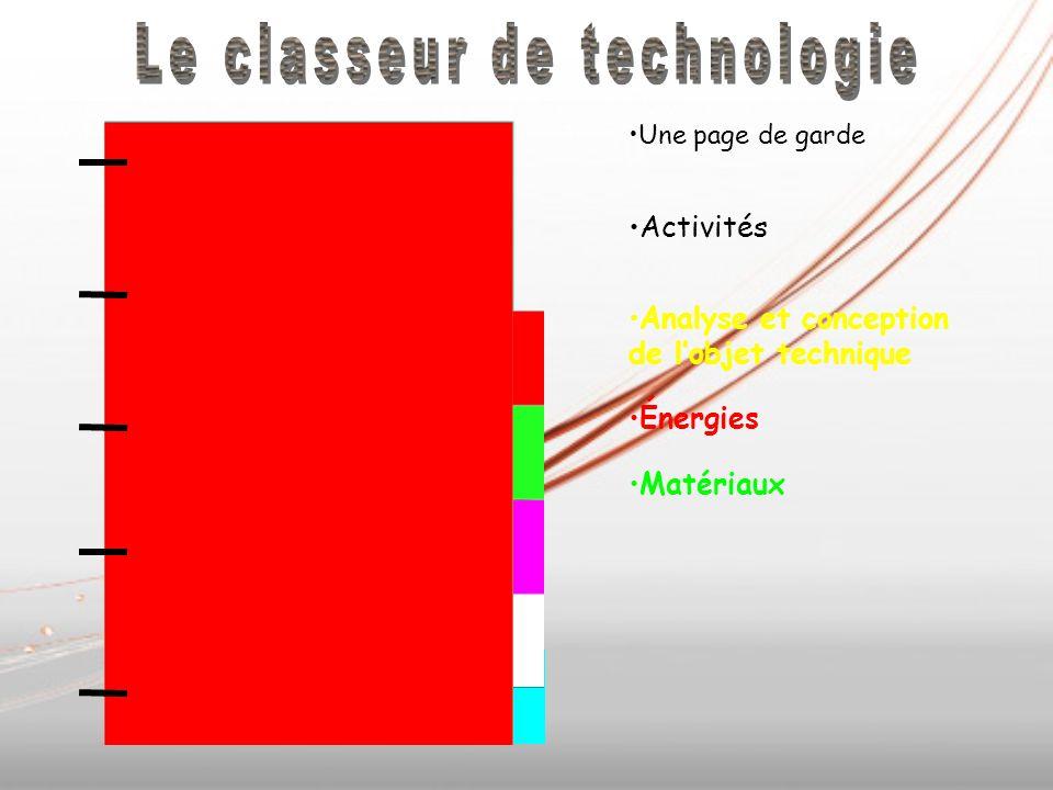 Matériaux Une page de garde Activités Analyse et conception de lobjet technique Énergies Matériaux
