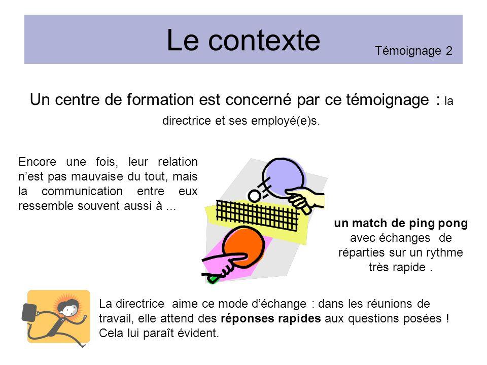 Le contexte Un centre de formation est concerné par ce témoignage : la directrice et ses employé(e)s.