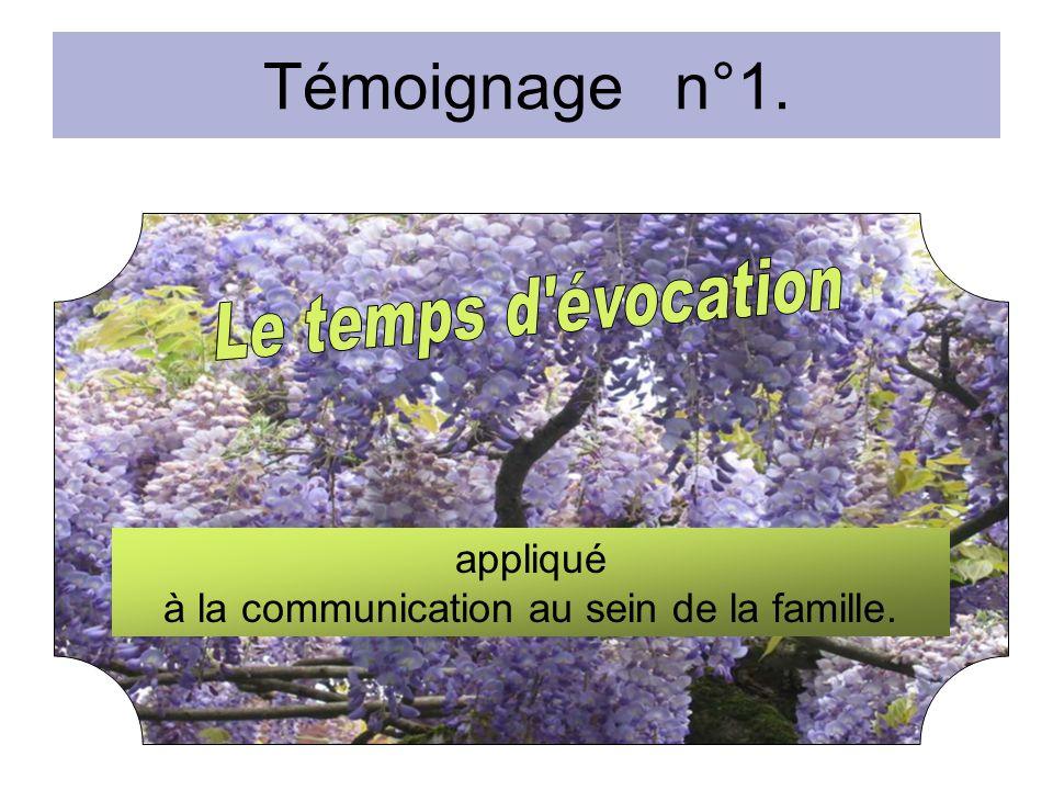 Témoignage n°1. appliqué à la communication au sein de la famille.