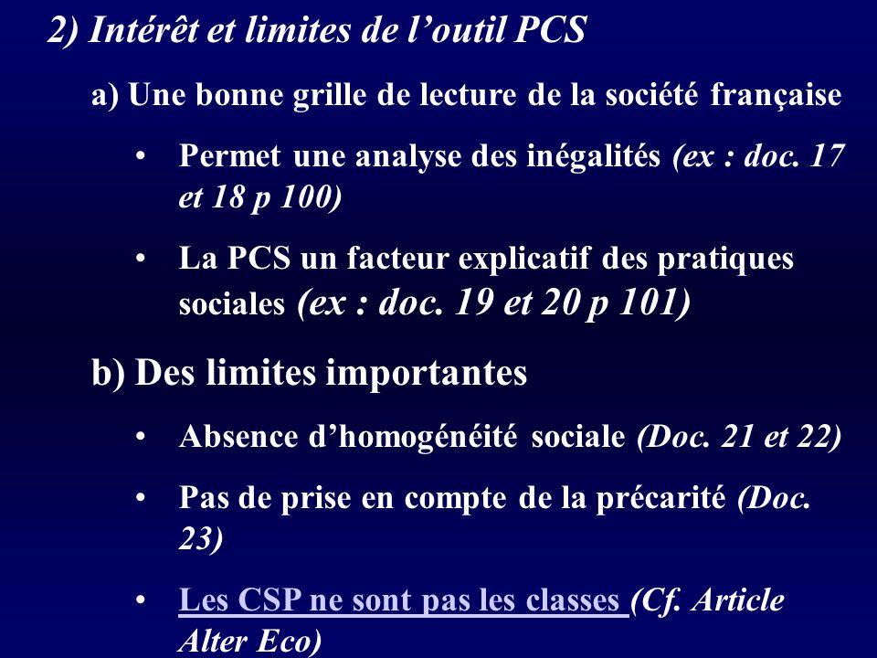 2) Intérêt et limites de loutil PCS a) Une bonne grille de lecture de la société française Permet une analyse des inégalités (ex : doc.