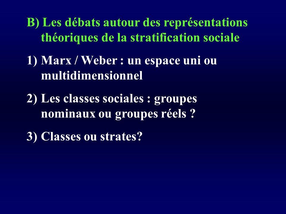 B) Les débats autour des représentations théoriques de la stratification sociale 1)Marx / Weber : un espace uni ou multidimensionnel 2)Les classes sociales : groupes nominaux ou groupes réels .