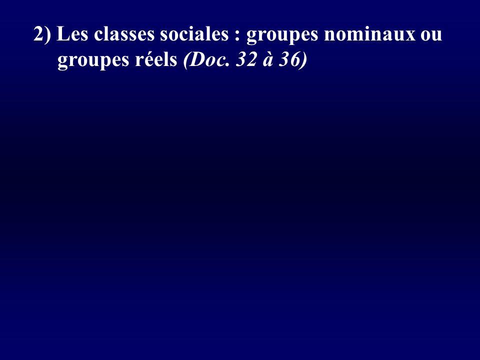 2) Les classes sociales : groupes nominaux ou groupes réels (Doc. 32 à 36)