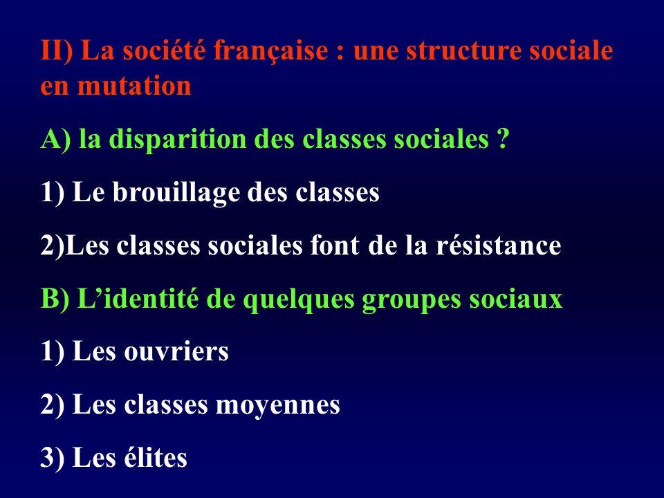 II) La société française : une structure sociale en mutation A) la disparition des classes sociales .