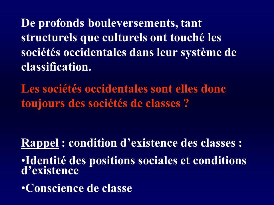 De profonds bouleversements, tant structurels que culturels ont touché les sociétés occidentales dans leur système de classification.