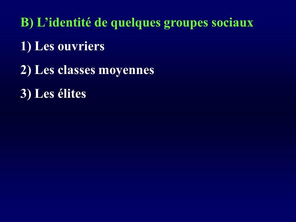 B) Lidentité de quelques groupes sociaux 1) Les ouvriers 2) Les classes moyennes 3) Les élites
