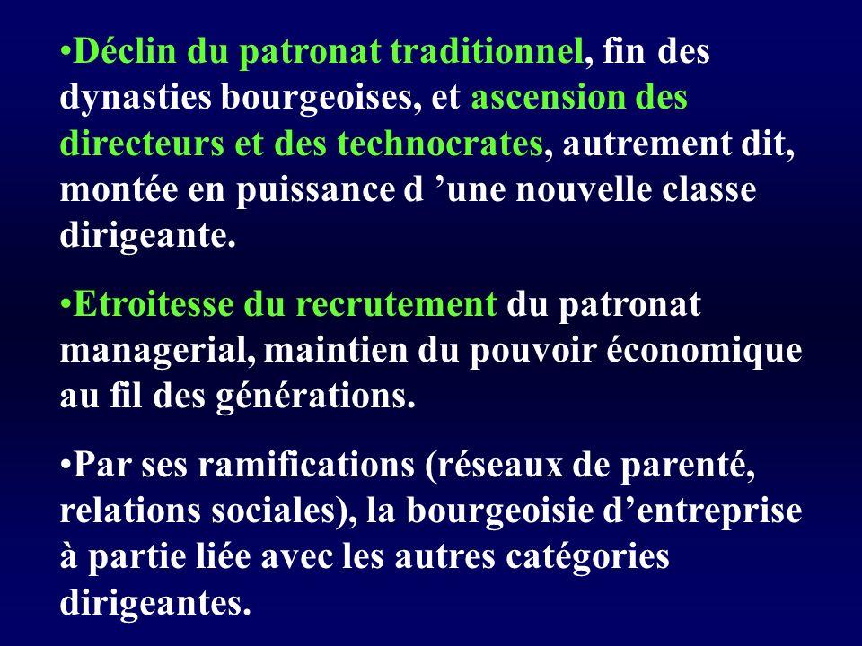 Déclin du patronat traditionnel, fin des dynasties bourgeoises, et ascension des directeurs et des technocrates, autrement dit, montée en puissance d une nouvelle classe dirigeante.