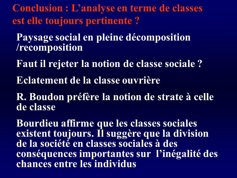 Conclusion : Lanalyse en terme de classes est elle toujours pertinente .