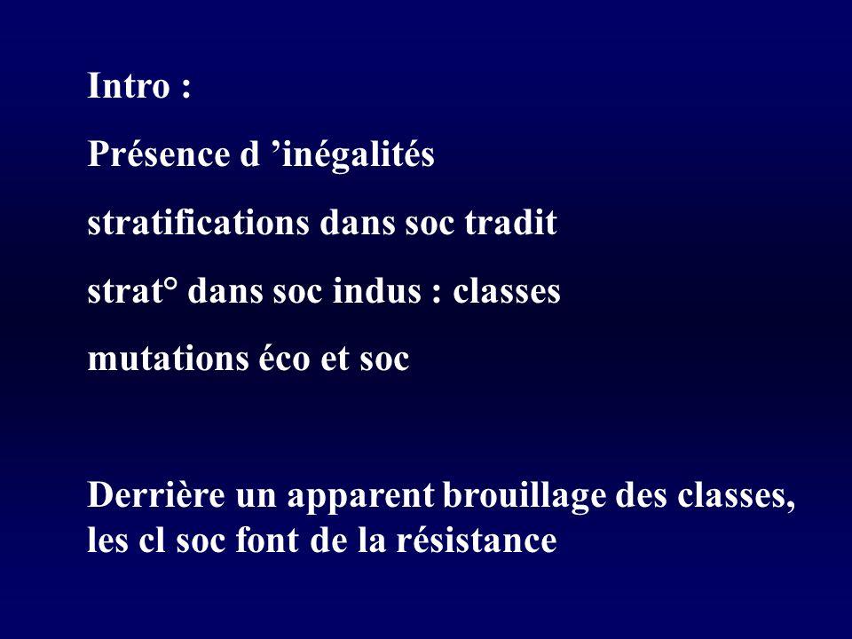 Intro : Présence d inégalités stratifications dans soc tradit strat° dans soc indus : classes mutations éco et soc Derrière un apparent brouillage des classes, les cl soc font de la résistance