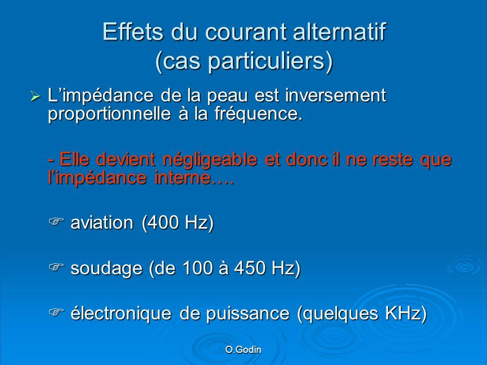 Effets du courant alternatif (cas particuliers) Limpédance de la peau est inversement proportionnelle à la fréquence.