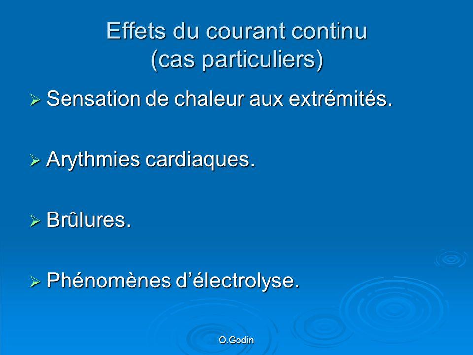 O.Godin Effets du courant continu (cas particuliers) Sensation de chaleur aux extrémités.