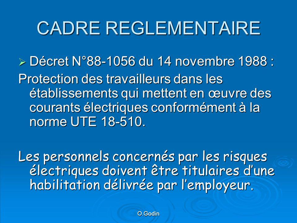 O.Godin CADRE REGLEMENTAIRE Décret N°88-1056 du 14 novembre 1988 : Décret N°88-1056 du 14 novembre 1988 : Protection des travailleurs dans les établissements qui mettent en œuvre des courants électriques conformément à la norme UTE 18-510.