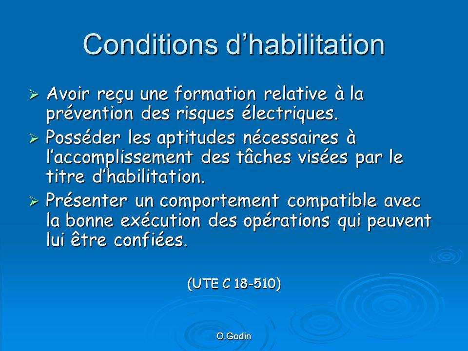 O.Godin Conditions dhabilitation Avoir reçu une formation relative à la prévention des risques électriques.