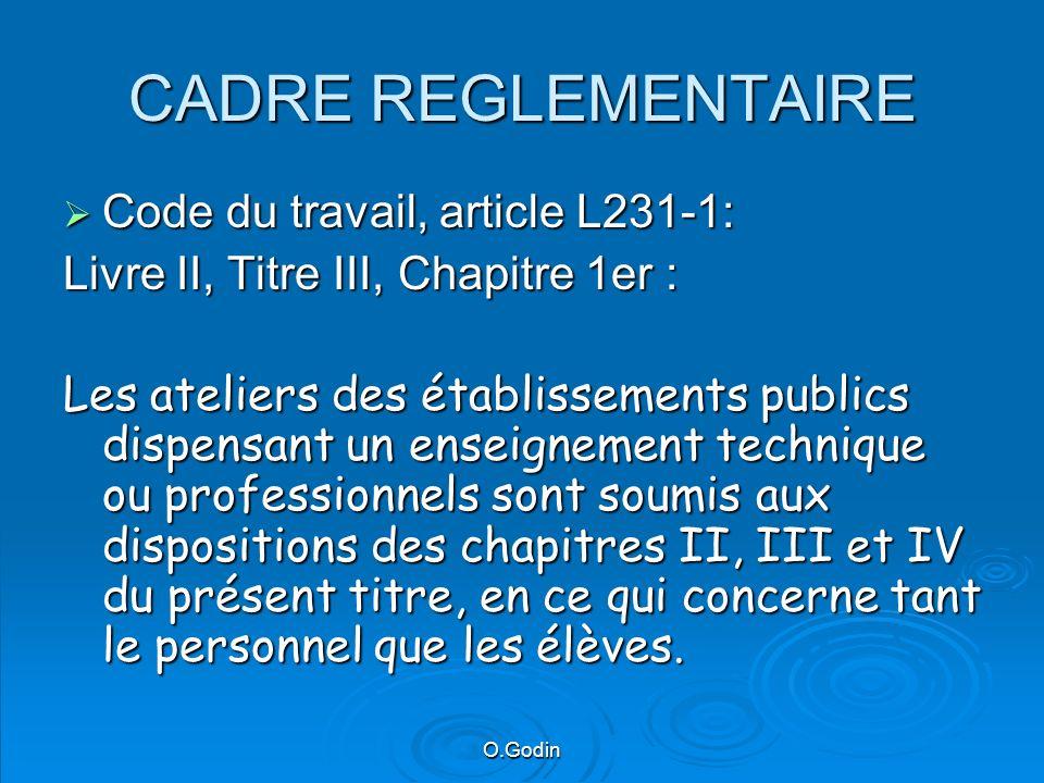O.Godin CADRE REGLEMENTAIRE Accord national (B.O.N°37 du 4/11/95) Accord national (B.O.