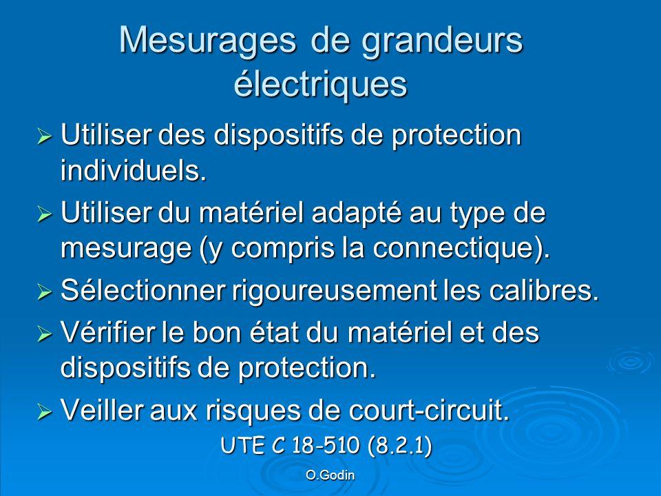 O.Godin Mesurages de grandeurs électriques Utiliser des dispositifs de protection individuels.