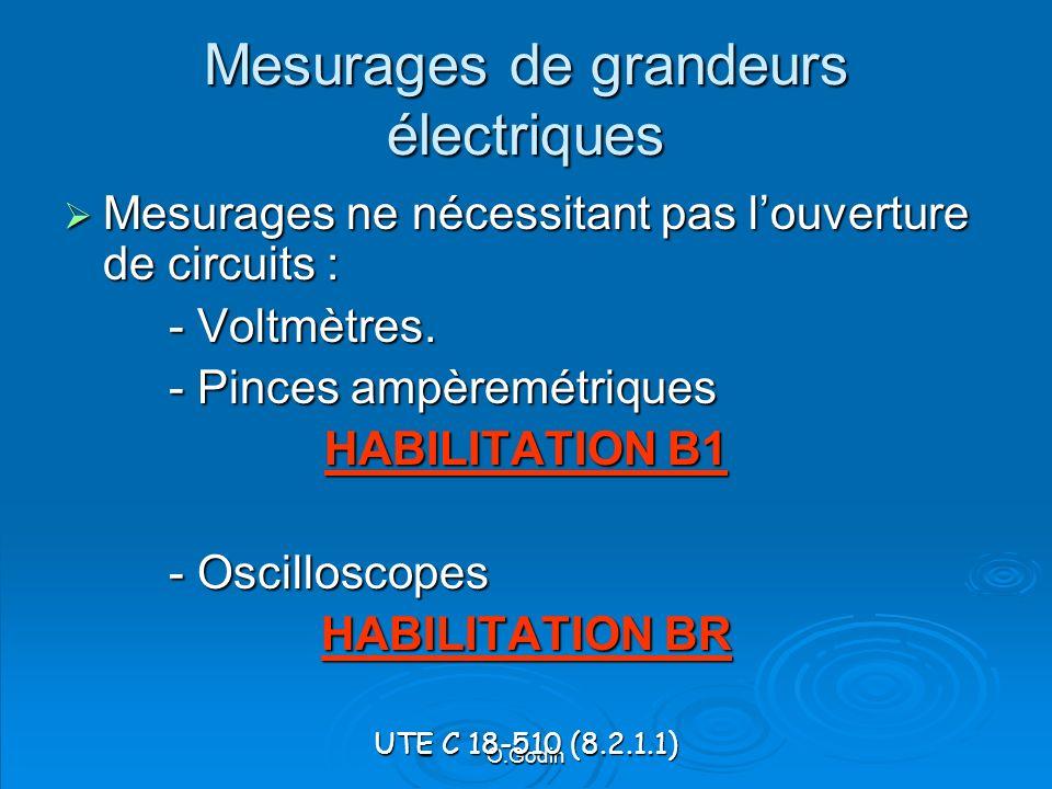 O.Godin Mesurages de grandeurs électriques Mesurages ne nécessitant pas louverture de circuits : Mesurages ne nécessitant pas louverture de circuits : - Voltmètres.