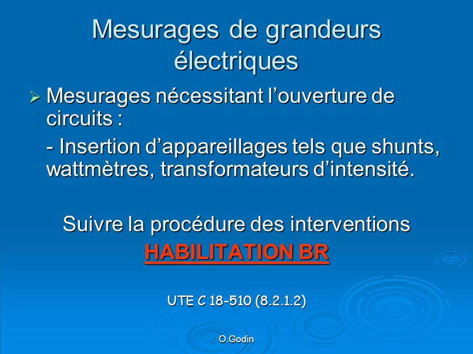 O.Godin Mesurages de grandeurs électriques Mesurages nécessitant louverture de circuits : Mesurages nécessitant louverture de circuits : - Insertion dappareillages tels que shunts, wattmètres, transformateurs dintensité.