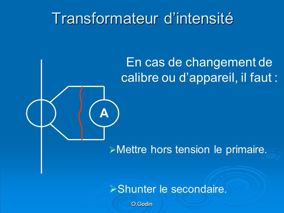 O.Godin Transformateur dintensité A En cas de changement de calibre ou dappareil, il faut : Mettre hors tension le primaire.