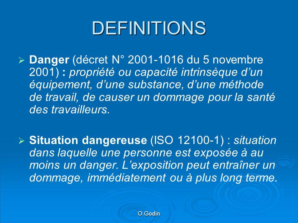 O.Godin DEFINITIONS Danger (décret N° 2001-1016 du 5 novembre 2001) : propriété ou capacité intrinsèque dun équipement, dune substance, dune méthode de travail, de causer un dommage pour la santé des travailleurs.