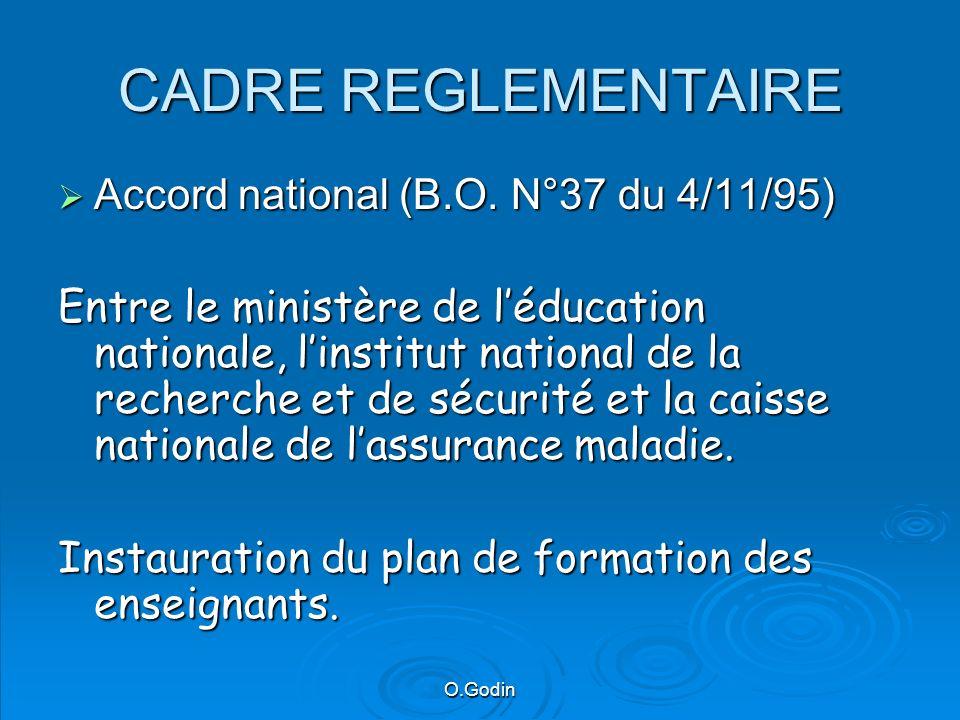 O.Godin Nouveau référentiel de formation Note de service du 7/02/06 se substituant à la N°2000-210 du 22/11/00 Chaque formation, en fonction du niveau dhabilitation visé, nécessite un niveau de prérequis (cf.