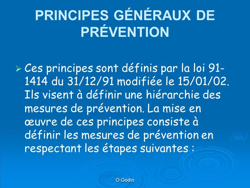 O.Godin PRINCIPES GÉNÉRAUX DE PRÉVENTION Ces principes sont définis par la loi 91- 1414 du 31/12/91 modifiée le 15/01/02.