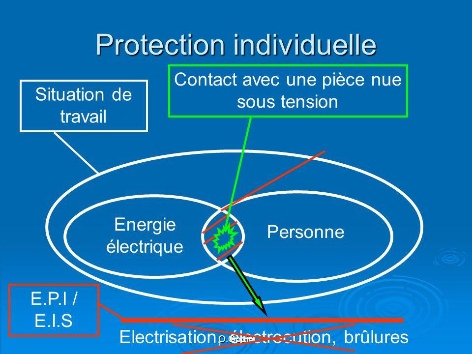 O.Godin Protection individuelle Energie électrique Personne Situation de travail Contact avec une pièce nue sous tension Electrisation, électrocution, brûlures E.P.I / E.I.S