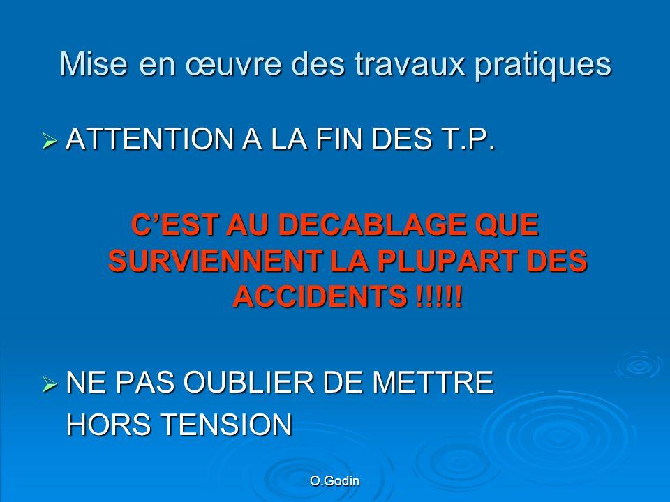 O.Godin Mise en œuvre des travaux pratiques ATTENTION A LA FIN DES T.P.