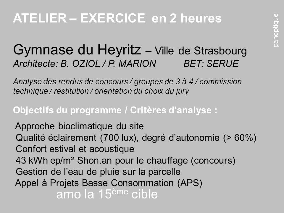 panoptique amo la 15 ème cible ATELIER – EXERCICE en 2 heures Gymnase du Heyritz – Ville de Strasbourg Architecte: B. OZIOL / P. MARIONBET: SERUE Anal